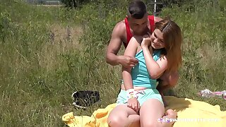 Erotic outdoor fun with a chubby ass teenager thirsting be useful to cock