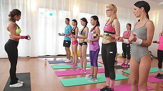 Hot fitness buffs hook up after a strenuous workout session