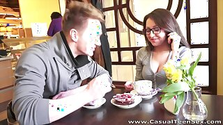 After coffee break nerdy unspecified is polished doggy quite hard by her friend