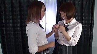 Asian teen les kissing