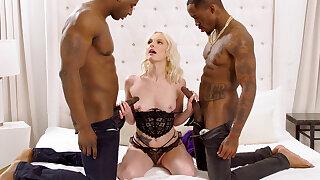Herculean dark-hued penises spread blond's cock-squeezing vag