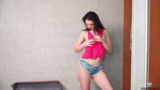 Lewd teen in jeans shorts Kaliy gets uncover and plays with snatch