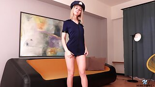 Naughty coed is carrying-on with stepmom's policewoman uniform