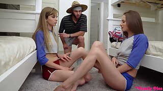 Kinky hostel girl Kyler Quinn is happy to share flannel for fantastic threesome