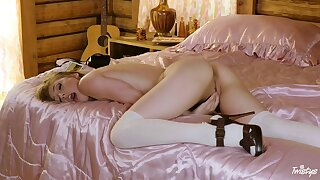 Teen babe Ivy Wolfe pleasures herself on a pink satin blanket